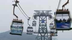 Cable cars in Hong Kong, timelapse Stock Footage