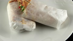 Turkish Shawarma durum, traditional sish kebab, loop Stock Footage