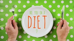 Are you on a diet message on a dinner plate Stock Footage