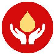 Blood Donation Flat Round Icon - stock illustration