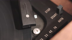 Closeup Auto Start Record Player Needle and Vinyl Stock Footage