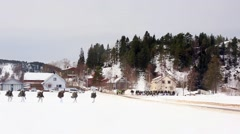 NORWAY, MARCH 2016, Nato Soldiers Walk To Little Village Winter Time Stock Footage