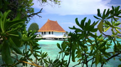 Tropical landscape with hut and the beach. Stock Footage