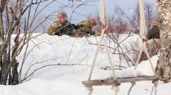 NORWAY, MARCH 2016, Nato Soldier Defense Position Winter Time Stock Footage