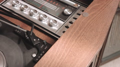 Open Old Record Player and Auto Start Stock Footage