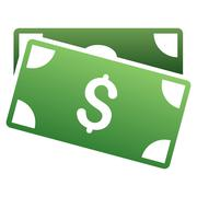Banknotes Gradient Vector Icon - stock illustration