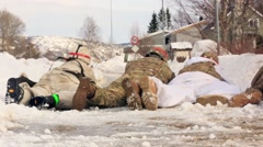 NORWAY, MARCH 2016, Nato Soldiers Fires Machine Gun Winter Training Stock Footage