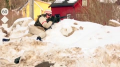 NORWAY, MARCH 2016, Nato Soldier give Commands Winter Training Stock Footage
