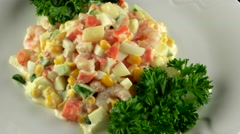 Prawn salad with corn, pineapple and fresh cucumber, loop - stock footage