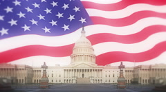 United States Capitol And Flag Motion Background Stock Footage