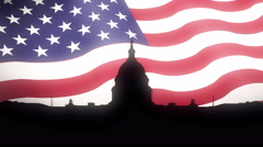 United States Capitol Silhouette USA Flag Motion Background Stock Footage