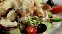 Meat salad with raw mushrooms, loop Stock Footage