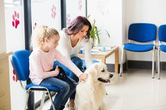 Mother and daughter with dog in vet waiting room Kuvituskuvat