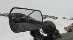 NORWAY, MARCH 2016, Camera Perspective In Vehicle Mirror Soldiers On Infantry Stock Footage