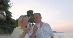 Mature Couple with Glasses on the Sea Shore Stock Footage