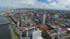 Aerial View of Buildings in Old Recife, Brazil Stock Footage