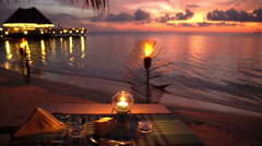 Served tables in the restaurant on the ocean in anticipation of visitors. Stock Footage