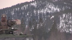 NORWAY, MARCH 2016, A Nato Military Winter Vehicle DriveSoldier On Top Stock Footage