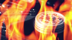 Hard disk failure, computer hdd on fire, burning in flames Stock Footage