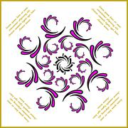 Twisted and curwed violet pattern with text Stock Illustration