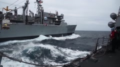 USA USS Chung-Hoo, March 2016, USS Chung Hoo Gets Supply Stock Footage