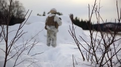 Norway, March 2016, Nato Soldier Stand Snow Area Stock Footage