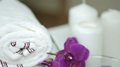 Spa still life with candles and flower, bathroom Stock Footage