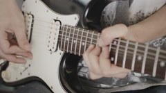 Professional Guitarist Playing An Electric Guitar At Home Studio Stock Footage