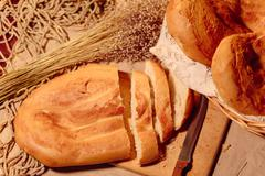 Armenian sliced homemade bread matnakash Stock Photos