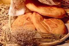 Several Armenian homemade mantakash bread in a basket Stock Photos