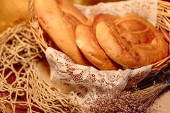 Several Armenian homemade mantakash bread in a basket Stock Photos