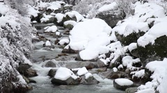 Creek with snow-covered banks Stock Footage