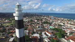 Aerial View of Lighthouse of Olinda, Brazil - stock footage