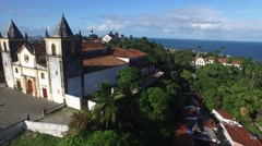 Main facade of the Se Cathedral in Olinda, Recife, Brazil - stock footage