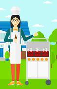 Woman preparing barbecue Piirros