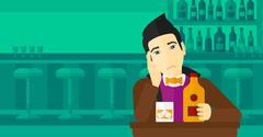 Sad man with bottle and glass - stock illustration