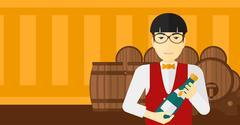 Waiter holding bottle of wine - stock illustration