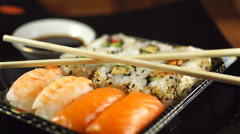 Fresh Sushi Assortment, Close-up on Turntable - stock footage