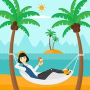 Woman chilling in hammock - stock illustration