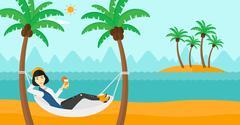 Woman chilling in hammock Stock Illustration