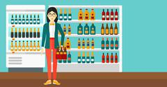Woman with pack of beer Stock Illustration