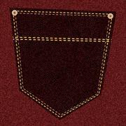 crimson jeans pocket - stock illustration