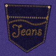 Purple jeans pocket - stock illustration