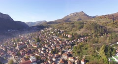 Mountain town, aerial, sunny, 4k, ultra HD, gorgeous natural beauty - stock footage