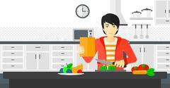 Man cooking meal Piirros