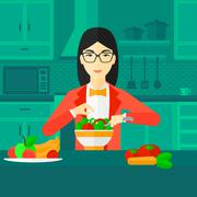 Stock Illustration of Woman cooking meal