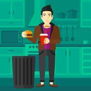 Man throwing junk food Stock Illustration