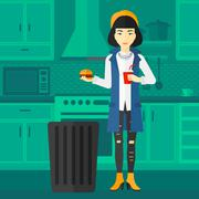 Woman throwing junk food - stock illustration