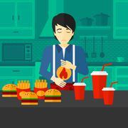 Stock Illustration of Man suffering from heartburn