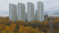 Residential complex against cityscape near national park Stock Footage